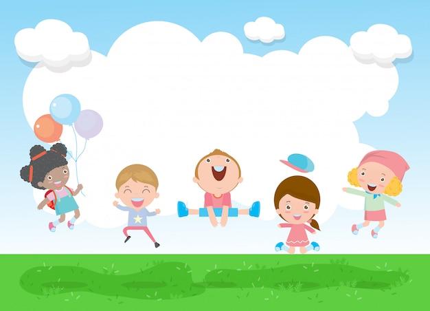 Ritorno a scuola bambini felici che saltano e ballano sul parco Vettore Premium