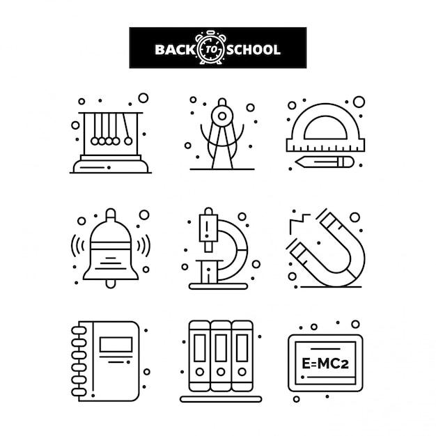 Icona di ritorno a scuola. set di icone linea istruzione e apprendimento. Vettore Premium