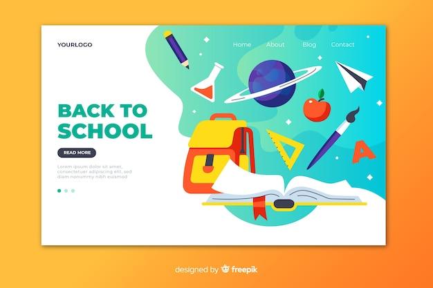 Torna al modello di pagina di destinazione della scuola Vettore Premium