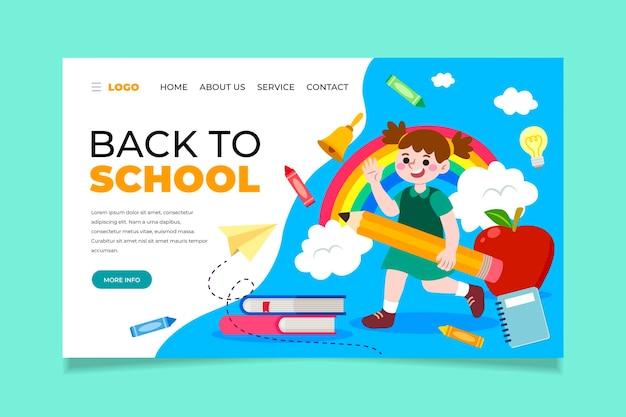 Torna alla pagina di destinazione della scuola con il bambino che tiene una matita Vettore Premium