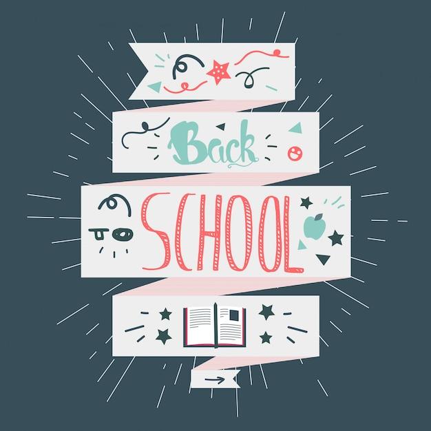 Ritorno a scuola lettering Vettore Premium