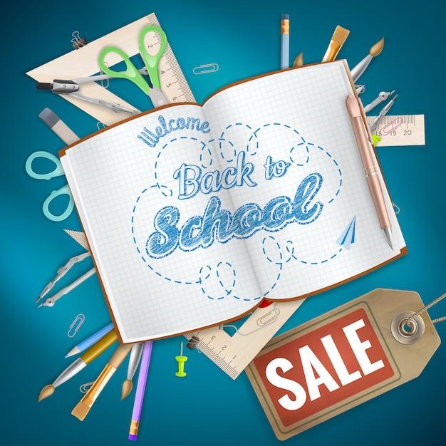Torna a sfondo vendita scuola. Vettore Premium