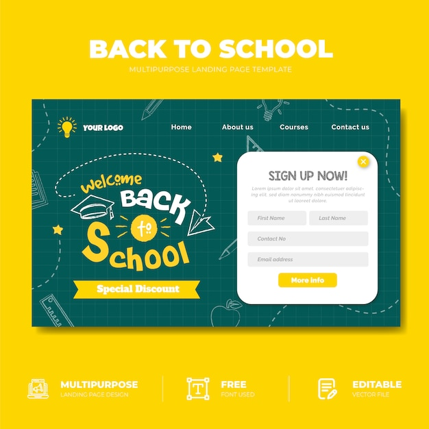 Torna al concetto di landing page di vendita a scuola Vettore Premium