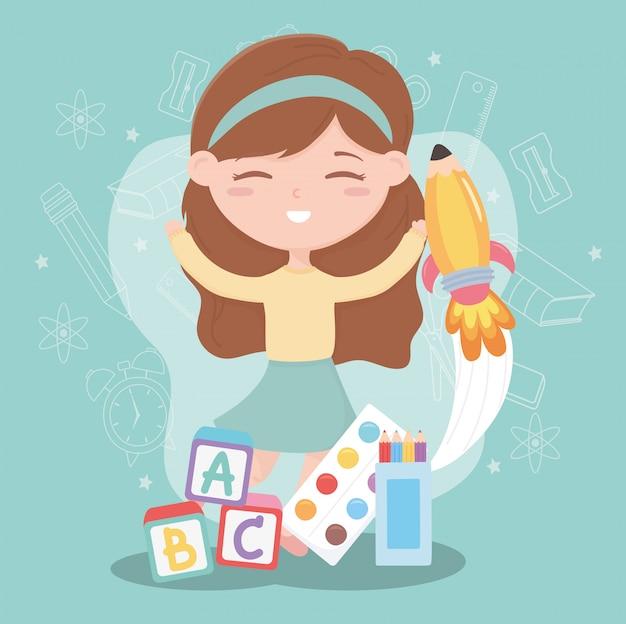 Ritorno a scuola, ragazza studentessa con blocchi di educazione alfabeto cartoon Vettore Premium