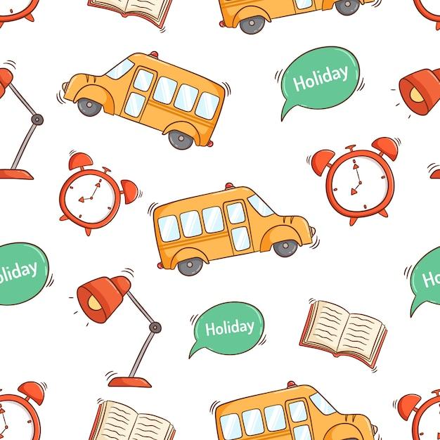 Torna a scuola fornisce icone in seamless con stile doodle colorato Vettore Premium