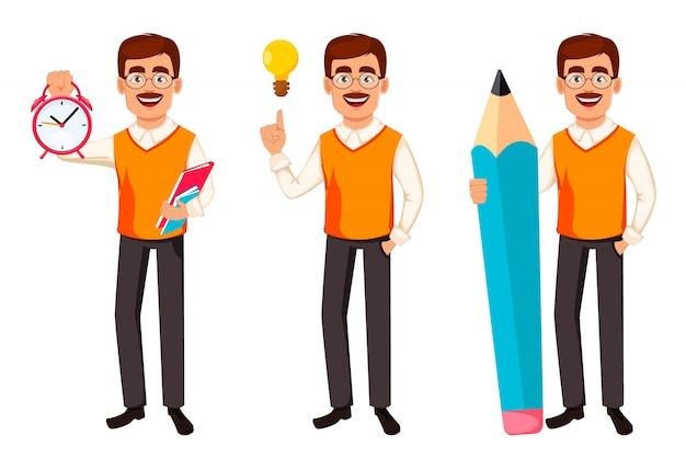 Di nuovo a scuola. personaggio dei cartoni animati di insegnante uomo Vettore Premium