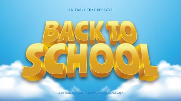 Torna a scuola effetti di testo Vettore Premium