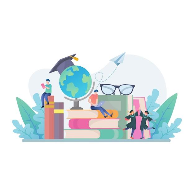 Torna a scuola con libri, istruzione e illustrazione del concetto di ricerca Vettore Premium