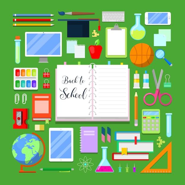 Ritorno a scuola con set di icone di educazione. Vettore Premium