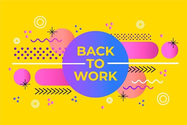 Ritorno al lavoro - sfondo di memphis Vettore Premium