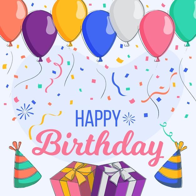 Sfondo di festa di compleanno design piatto con palloncini Vettore Premium