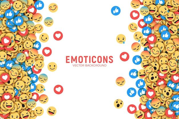 Cornice di sfondo con social media emoji Vettore Premium