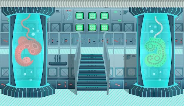Sfondo per giochi e applicazioni mobili astronave. interno di astronave, laboratorio. illustrazione del fumetto. Vettore Premium