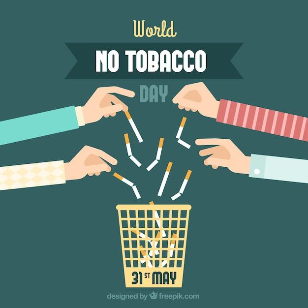 Sfondo di mani tirando sigarette Vettore Premium