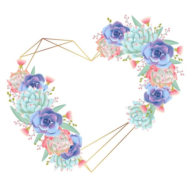Vettore di succulente di corona di amore sfondo Vettore Premium