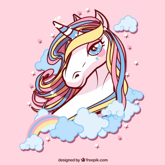 Sfondo di unicorn bello di colori Vettore Premium