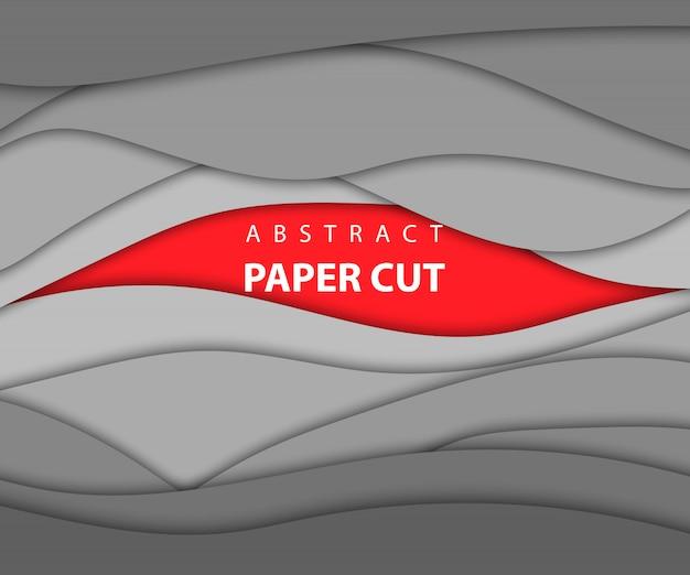 Sfondo rosso e grigio colore carta tagliata forme. stile di arte della carta astratta 3d, layout di design per presentazioni aziendali, volantini, poster, stampe, decorazioni, carte, copertina di brochure. Vettore Premium