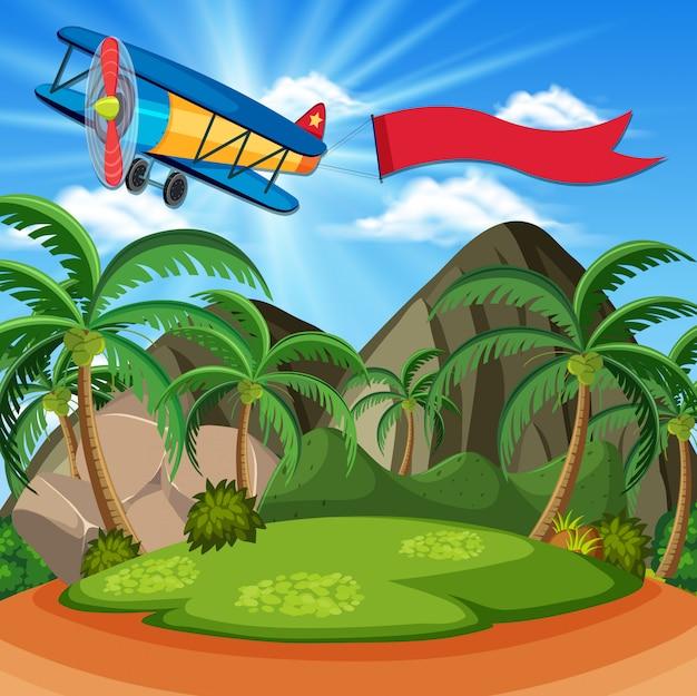 Scena di sfondo con aeroplano e bandiera rossa Vettore Premium