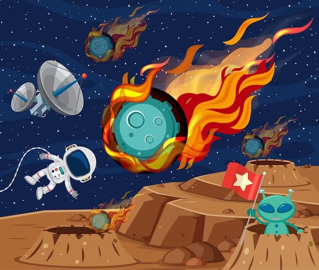 Scena di sfondo con asteroidi che volano nello spazio Vettore Premium