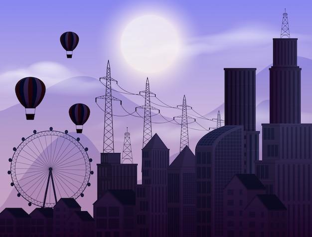 Scena di sfondo con cielo scuro in città Vettore Premium