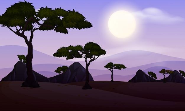 Scena di sfondo con cielo scuro al parco Vettore Premium