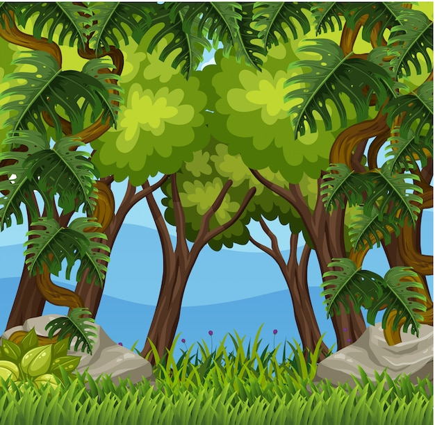 Scena di sfondo con molti alberi nella foresta Vettore Premium
