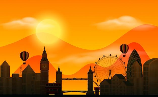 Scena del fondo con le costruzioni della siluetta e di tramonto nella città Vettore Premium
