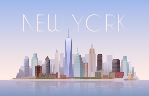 Sfondo del paesaggio urbano di new york Vettore Premium