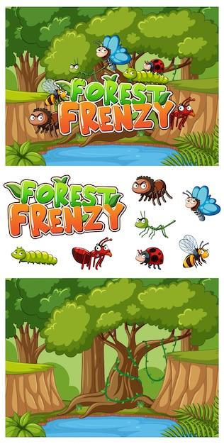 Sfondo con molti insetti nella foresta Vettore Premium