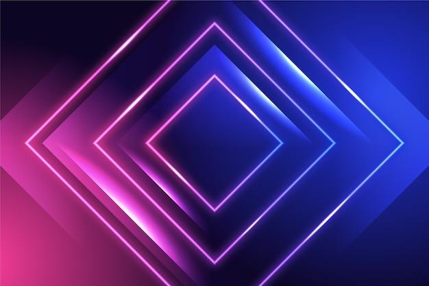 Sfondo con luci al neon e quadrati Vettore Premium