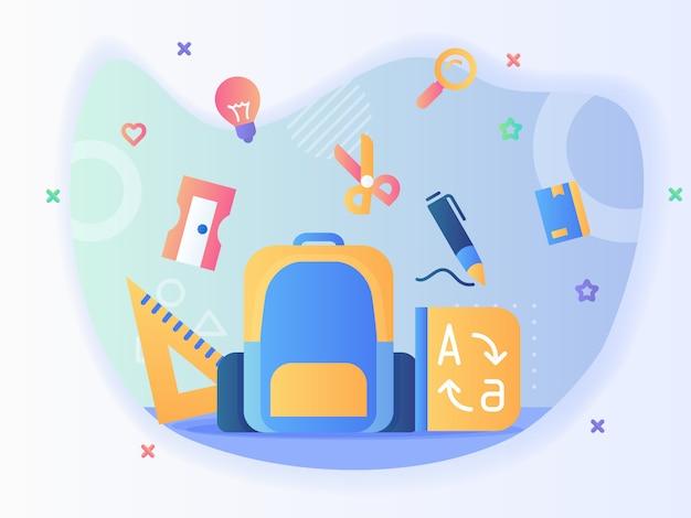 Zaino e set di icone fisse righello temperamatite scisor penna dizionario torna al concetto di scuola con disegno vettoriale stile piatto Vettore Premium