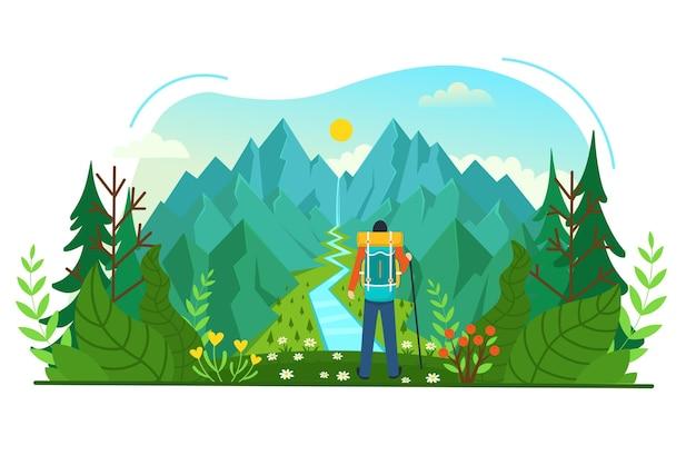 Un viaggiatore con zaino e sacco a pelo in piedi sulla cima di una montagna che gode della vista del fiume. illustrazione vettoriale. Vettore Premium