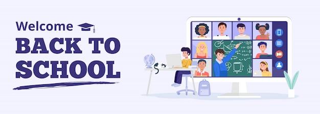 Ritorno al concetto di scuola. Vettore Premium