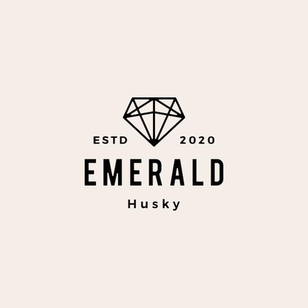 Backup dell'illustrazione dell'icona di logo vintage hipster gemma verde smeraldo Vettore Premium