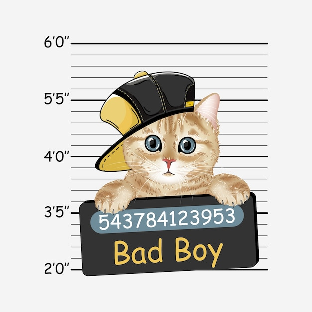 Gatto cattivo ragazzo. gattino. ritratto realistico colorato del gatto. Vettore Premium