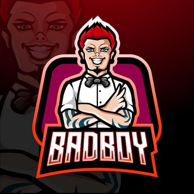 Bad boy esport logo design mascotte Vettore Premium