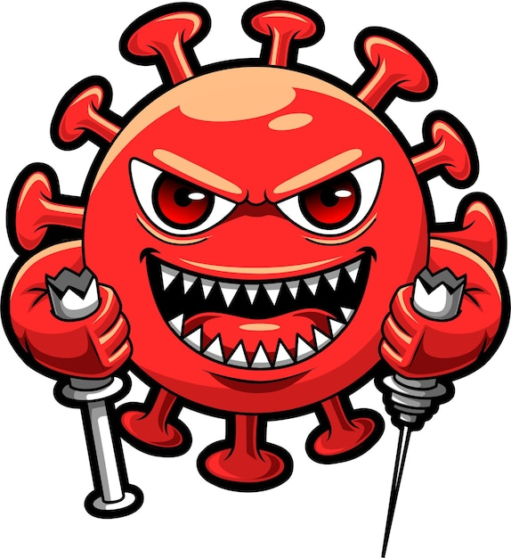 Colore rosso del virus corona cattivo, illustrazione di disegno del carattere della mascotte che fa rottura ipodermica Vettore Premium