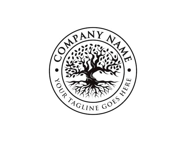 Distintivo, sigillo, emblema vintage albero della vita logo, vecchio logo albero di quercia, vecchio grande albero con il logo della radice Vettore Premium