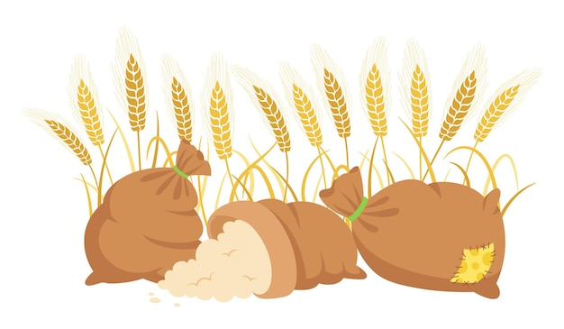 Farina di borsa e spighe di grano, composizione di cartone animato farina di mucchio, spighette di grano d'oro produzione di farina agricola del raccolto Vettore Premium