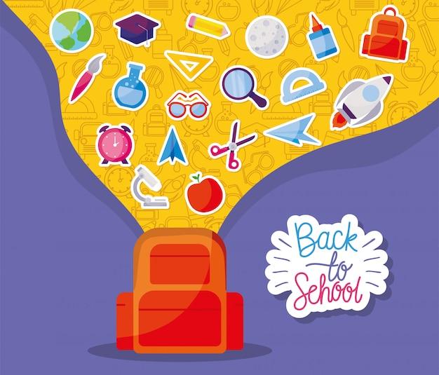 Borsa con set di icone, tema lezione di lezione di educazione scolastica Vettore Premium