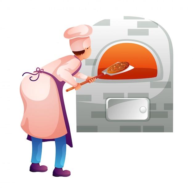 Panettiere che fa la pizza nel carattere piatto della cucina Vettore Premium