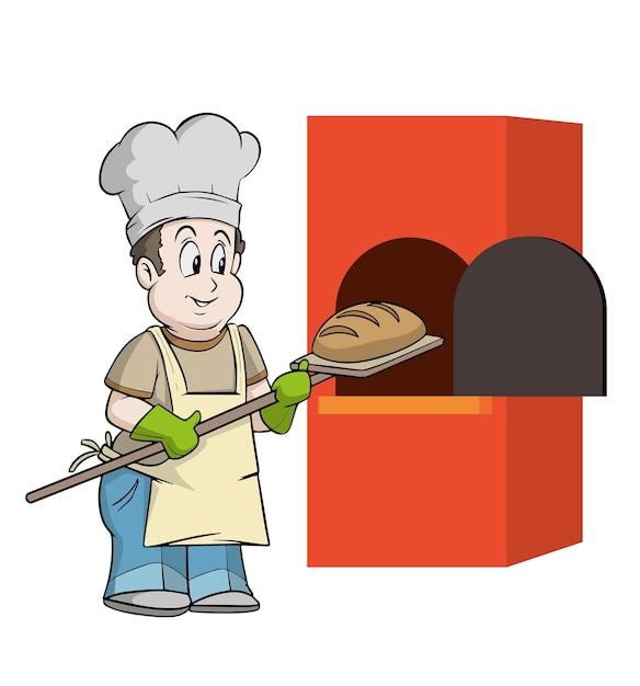 Baker che mette il pane nel forno molto presto Vettore Premium