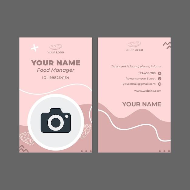 Modello di carta d'identità dell'annuncio di panetteria Vettore Premium