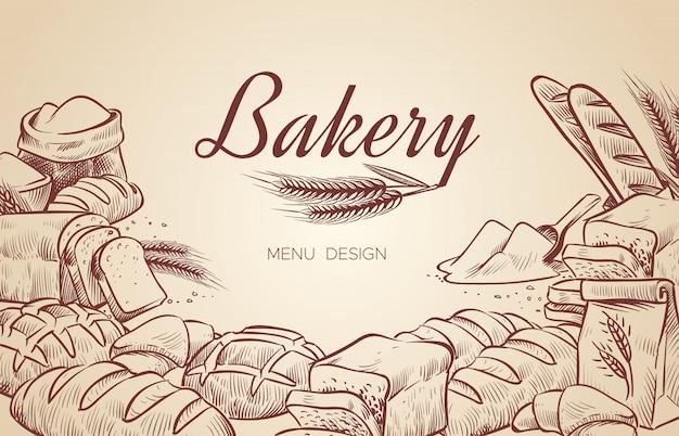 Sfondo di panetteria. disegnata a mano cottura pane panetteria bagel pane pasticceria cuocere cottura menu culinario design Vettore Premium