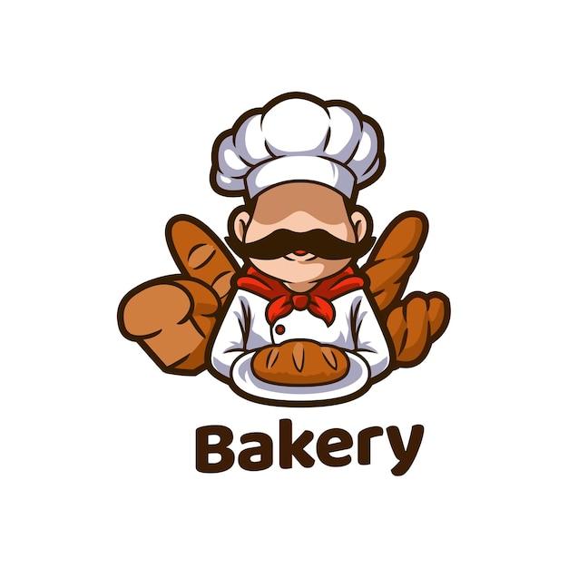 Mascotte di pane di panetteria bakeshop cibo Vettore Premium