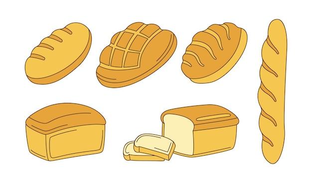 Insieme di clipart del fumetto di panetteria. pane di segale, pane integrale e pane di frumento e baguette francese, ciabatta di schizzo Vettore Premium