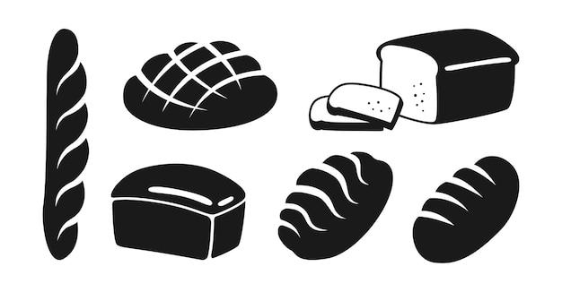 Set di icone piatto nero panetteria pane di segale, pane integrale e pagnotta di grano e baguette francese Vettore Premium