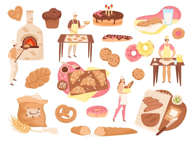 Insieme di illustrazioni di cibo, pasticceria e prodotti da forno. panettieri, pagnotte di pane fresco, torte, torte, farina e icone di fornelli. prodotti da forno, ciambelle, baguette, salatini e focacce di grano. Vettore Premium