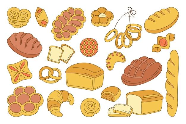 Insieme del fumetto di prodotti da forno. linea pagnotta di pane e baguette francese, pretzel, muffin, croissant, ciabatta Vettore Premium
