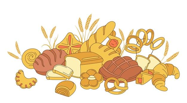 Prodotti da forno, composizione di pane, pasticceria dolce e spighe Vettore Premium